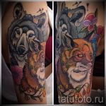 tattoo fox and a wolf - a cool tattoo photo on 03052016 2