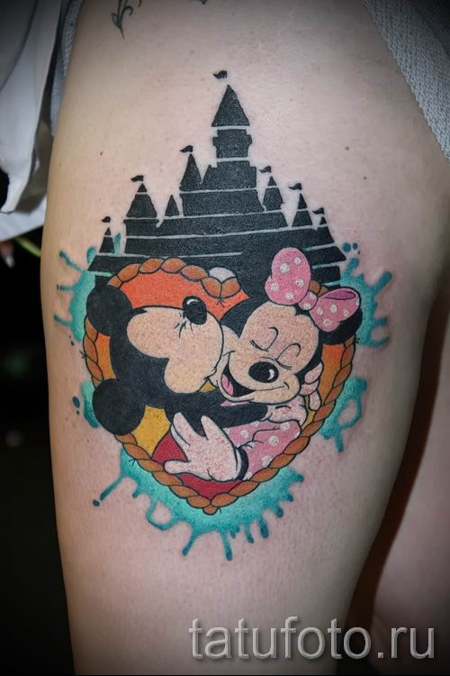 tattoo of Mickey Mouse and Minnie 3