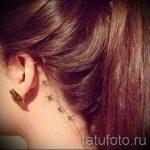 птицы за ухом тату - фотографии вариантов готовых татуировок 2