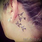 птицы за ухом тату - фотографии вариантов готовых татуировок 3