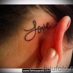 тату за ухом для девушек - фотографии вариантов готовых татуировок 20