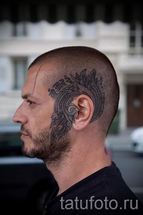 Тату за ухом мужские фото
