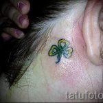 тату клевер за ухом - фотографии вариантов готовых татуировок 1