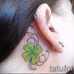 тату клевер за ухом - фотографии вариантов готовых татуировок 10