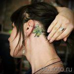 тату клевер за ухом - фотографии вариантов готовых татуировок 3