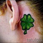 тату клевер за ухом - фотографии вариантов готовых татуировок 5