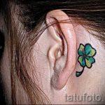 тату клевер за ухом - фотографии вариантов готовых татуировок 6