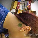 тату клевер за ухом - фотографии вариантов готовых татуировок 8