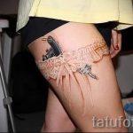 тату кружева на ноге - фото пример готовой татуировки 1