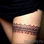 тату кружева на ноге - фото пример готовой татуировки 101