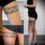 тату кружева на ноге - фото пример готовой татуировки 12
