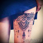 тату кружева на ноге - фото пример готовой татуировки 4