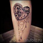 тату кружева на ноге - фото пример готовой татуировки 8
