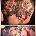 тату кружева на спине - фото пример готовой татуировки 7