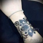 тату кружевной браслет - фото пример готовой татуировки 2