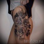 тату кружево на бедре - фото пример готовой татуировки 2