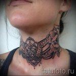 тату кружево на шее - фото пример готовой татуировки 2
