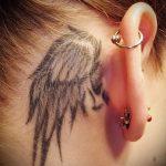 тату крыло за ухом - фотографии вариантов готовых татуировок 1