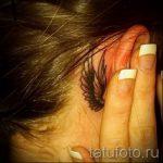 тату крыло за ухом - фотографии вариантов готовых татуировок 3