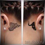 тату крыло за ухом - фотографии вариантов готовых татуировок 6