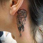 тату ловец снов за ухом - фотографии вариантов готовых татуировок 11