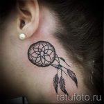 тату ловец снов за ухом - фотографии вариантов готовых татуировок 3