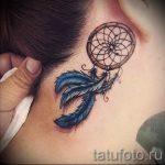 тату ловец снов за ухом - фотографии вариантов готовых татуировок 5