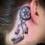 тату ловец снов за ухом - фотографии вариантов готовых татуировок 6