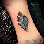 тату на лодыжке крылья - классные фото готовой татуировки 8