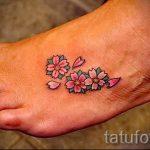 тату на лодыжке сакура - классные фото готовой татуировки 3