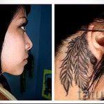 тату перо за ухом - фотографии вариантов готовых татуировок 10