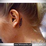 тату перо за ухом - фотографии вариантов готовых татуировок 11
