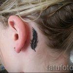 тату перо за ухом - фотографии вариантов готовых татуировок 13