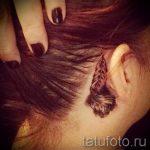 тату перо за ухом - фотографии вариантов готовых татуировок 18