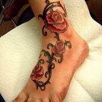 тату роза на лодыжке - классные фото готовой татуировки 1