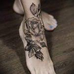 тату роза на лодыжке - классные фото готовой татуировки 11