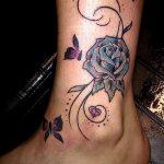 тату роза на лодыжке - классные фото готовой татуировки 3