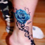 тату роза на лодыжке - классные фото готовой татуировки 7