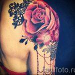 тату розы с кружевом - фото пример готовой татуировки 1