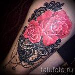 тату розы с кружевом - фото пример готовой татуировки 2