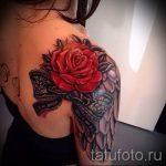 тату розы с кружевом - фото пример готовой татуировки 3