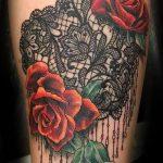 Rose Tattoo mit Spitze - Foto Beispiel des fertigen Tätowierung 1