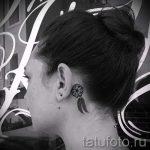Traumfänger Tattoo hinter dem Ohr - Fotos von fertigen Tätowierungen Optionen 2