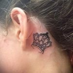 crown tattoo behind the ear 1