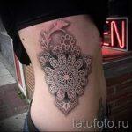 dentelle tatouage style - Photo exemplaire du tatouage fini 1