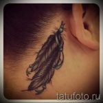 feather tattoo behind the ear - photos of finished tattoos options 1