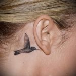 hummingbird tattoo behind the ear 1