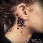 rose tattoo behind the ear 1