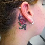 rose tattoo behind the ear 3
