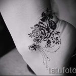 rose tattoo on her ankle - great photo of the finished tattoo 1